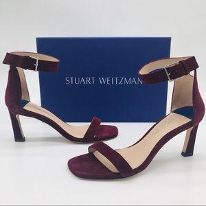 Stuart Weitzman Square Nudist Ankle Strap Sandals